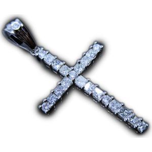 男 ペンダント トップ ヘッド 14金 ホワイト ゴールド K14 WG ダイヤモンド ダイヤ dia スクエア & ラウンド カット 上品 シンプル 十字架 クロス メンズ|alliegold