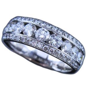 リング 指輪 天然 ダイヤモンド 1.340ct 上質 眩しい輝き 18金 ホワイトゴールド K18WG 幅広 ワイド レール 留め 手作り 三列 ハーフ エタニティ レディース|alliegold