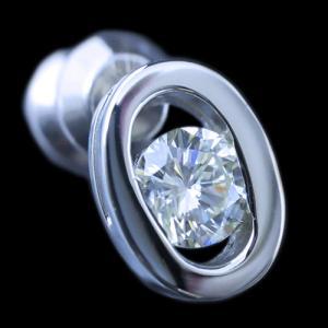 ピアス pierced シングル 片耳 片方 プラチナ Pt900 一粒 ダイヤモンド ダイヤ dia 0.2 カラット 0.20 ct 鑑定 ソーティング OVAL オーバル レディース メンズ alliegold 02