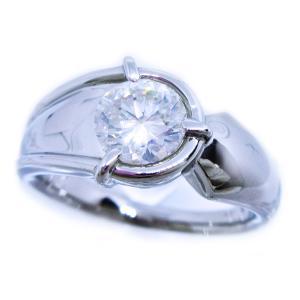リング 指輪 中石 大粒 一粒 天然ダイヤモンド 1カラット 手作り 幅広 ワイド リング プラチナ Pt900|alliegold