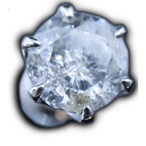 ピアス pierced シングル 片耳 片方 プラチナPt900 一粒 ダイヤモンド ダイヤ dia 1 カラット 1.0 ct K I1 Fair 鑑定 ソーティング 付 レディース メンズ|alliegold