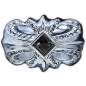 希少 天然 アレキ サンドライト プリンセス カット & ブラック ダイヤ モンド 十字架 クロス 18金 ホワイトゴールド K18WG ワイド リング 指輪|alliegold