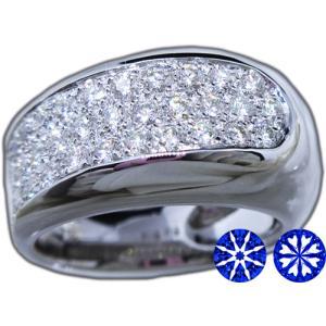 リング 指輪 パヴェ ダイヤモンド ダイヤ 幅広 ワイド 1.0ct 高品質 H&C ハート & キューピッド 鑑別書 付き 18金 ホワイトゴールド K18WG レディース|alliegold