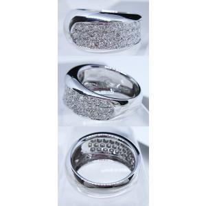 リング 指輪 パヴェ ダイヤモンド ダイヤ 幅広 ワイド 1.0ct 高品質 H&C ハート & キューピッド 鑑別書 付き 18金 ホワイトゴールド K18WG レディース alliegold 05
