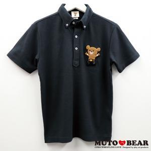 武藤ベアー ビッグワッペン ボタンダウンポロシャツ ブラック|alljapan