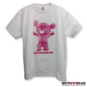 武藤ベアー チェックピンク Tシャツ ホワイト|alljapan
