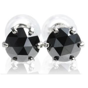 魅惑のローズカット!プラチナ×大粒ブラックダイヤモンド計1.0ctピアス|alljewelry