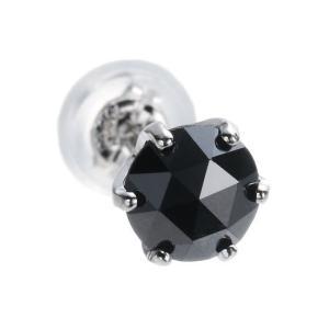 魅惑のローズカット!プラチナ×大粒ブラックダイヤモンド0.5ct ピアス (片耳用)【送料無料】|alljewelry