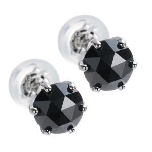 魅惑のローズカット!プラチナ×大粒ブラックダイヤモンド計1.0ct ピアス|alljewelry