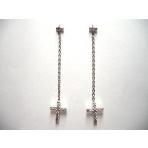 K18WG ホワイトゴールドダイヤモンド クロス ピアス|alljewelry