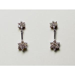 K18WG ホワイトゴールドダイヤモンド フラワー ピアス|alljewelry