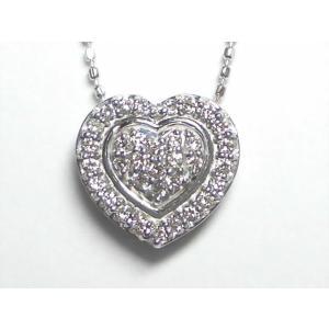 K18WG ホワイトゴールドダイヤモンド ハート ペンダント ネックレス|alljewelry