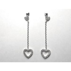 K18WG ホワイトゴールドダイヤモンド ハート ピアス|alljewelry