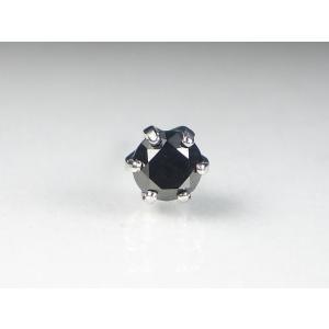 K18WG ホワイトゴールドブラックダイヤメンズ ピアス|alljewelry