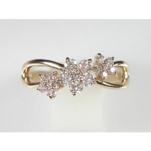 K18PG ピンクゴールドダイヤモンド フラワー リング(7号)【限定セール】|alljewelry