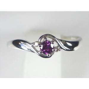 K18WGロードライトガーネット/ダイヤ リング 【誕生石1月】 alljewelry