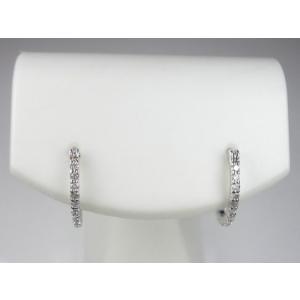 K18WGハーフエタニティダイヤフープ ピアス|alljewelry