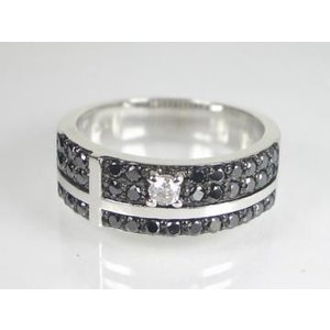 K18WG ホワイトゴールドブラックダイヤ/ダイヤ リング|alljewelry