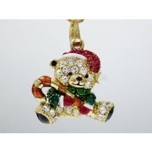 クリスマステディベア キラキラストラップ 【クリスマスプレゼント特価】|alljewelry
