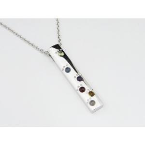 六猫足彩(無病息災)ねこの肉球モチーフ マルチカラー シルバー ペンダントネックレス プレートバータイプ 【送料無料】|alljewelry
