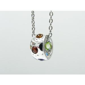 六猫足彩(無病息災)ねこの肉球モチーフ マルチカラーK10ホワイトゴールド ネックレス リング モチーフ 【送料無料】|alljewelry
