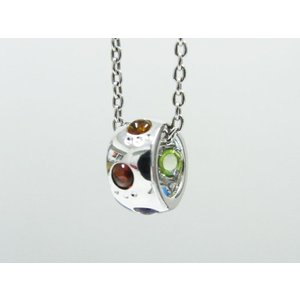 六猫足彩(無病息災)ねこの肉球モチーフ マルチカラーK18ホワイトゴールド ネックレス リング モチーフ 【送料無料】|alljewelry|02