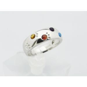 六猫足彩(無病息災)ねこの肉球モチーフ マルチカラーK10ホワイトゴールド リング スタイルA 【送料無料】|alljewelry