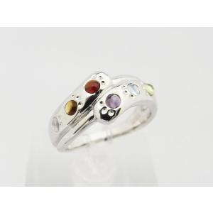 六猫足彩(無病息災)ねこの肉球モチーフ マルチカラー シルバー リング スタイルC 【送料無料】|alljewelry