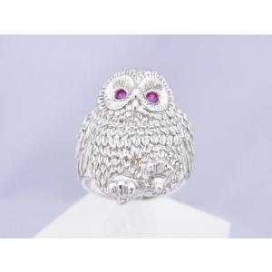 0.12CTルビー フクロウのリング|alljewelry