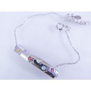 六猫足彩(無病息災)ねこの肉球モチーフ マルチカラー シルバープレートブレスレット alljewelry