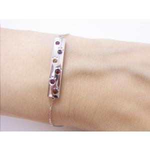 六猫足彩(無病息災)ねこの肉球モチーフ マルチカラー シルバープレートブレスレット alljewelry 03