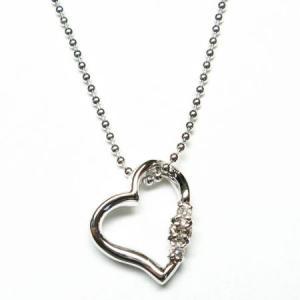 天然 ダイヤモンドオープンハート ネックレス 【誕生石 4月】 alljewelry