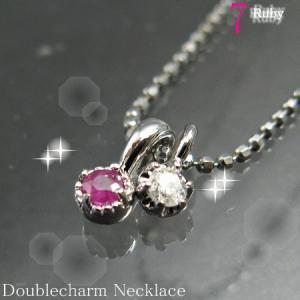 天然 ダイヤ×ルビー(ツイントップ)ダイヤモンドリリー ネックレス 【7月誕生石】|alljewelry