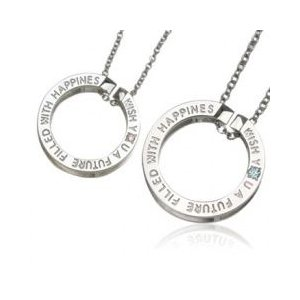 """with me メッセージペア ネックレス """"wish you a future""""