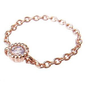 キュービックジルコニア チェーン リング (9号)|alljewelry