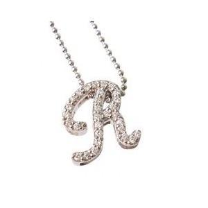 イニシャル ネックレス'R'(プラチナコーティング)|alljewelry
