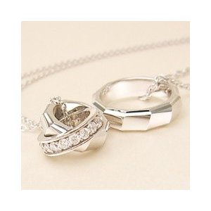 with me リング ペアネックレス (ロジウムコーティング)|alljewelry