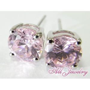 ピンクCZ(キュービック・ジルコニア)・6mm一粒 ピアス (CZ Pink Diamond Pierce)【即納】|alljewelry