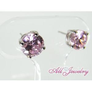ピンクCZ(キュービック・ジルコニア)・6mm一粒 ピアス (CZ Pink Diamond Pierce)【即納】|alljewelry|04