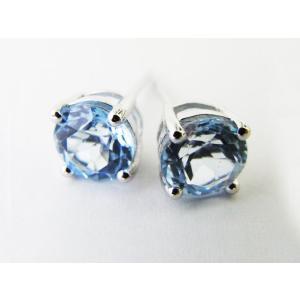 天然 スカイブルートパーズ・6mm一粒 ピアス (Sky Blue Topaz Pierce)|alljewelry