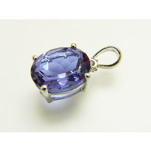 【新作】シンプル一粒 Syntheticアレキサンドライト & 天然 ダイヤモンド ペンダント トップ【誕生石6月】【即納】|alljewelry