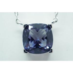 アレキサンドライト(シンセティック)Cushion大粒8mm ネックレス【即納】 alljewelry