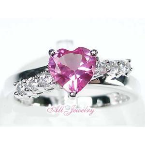 ラブリーピンクサファイアハート リング【即納】|alljewelry