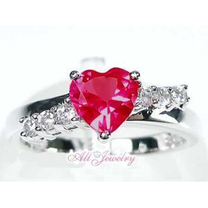 真っ赤なハートのラブルビー リング【即納】【バレンタイン】【プレゼントに最適!】|alljewelry