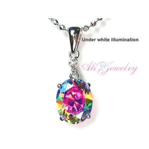 キャンディカラー'デコポン' ミスティックCZ& 天然 ダイヤモンドオーバル ペンダント トップ【数量限定セール】|alljewelry