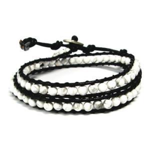 天然石×レザー ラップブレスレット 2連 ホワイトハウライト alljewelry