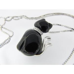 【necomata】幸運のシンボル黒猫のねこまたさん ペンダントネックレス シルバー|alljewelry