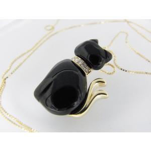 【necomata】幸運のシンボル黒猫のねこまたさん ペンダントネックレス K10YG alljewelry