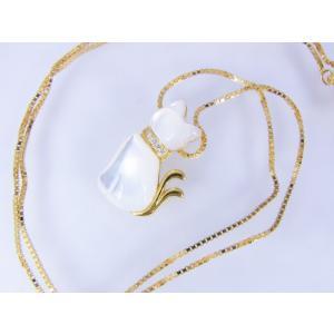 【necomata】幸運のシンボル白猫のねこまたさん ペンダントネックレス K10YG|alljewelry