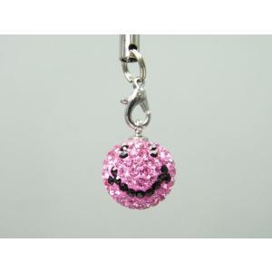 スワロフスキー☆スマイルストラップ(ピンク)【即納】|alljewelry